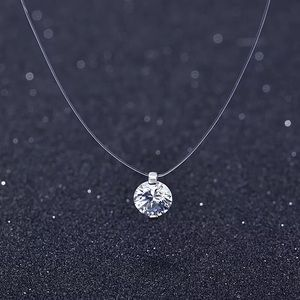 Crystal necklace with clear chain 925 link